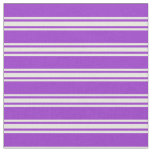 [ Thumbnail: Dark Orchid & Beige Lined/Striped Pattern Fabric ]