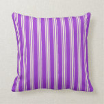 [ Thumbnail: Dark Orchid & Beige Lined/Striped Pattern Pillow ]