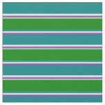 [ Thumbnail: Dark Orchid, Bisque, Teal, Green, and Light Green Fabric ]