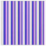 [ Thumbnail: Dark Orchid, Blue, and Mint Cream Stripes Fabric ]