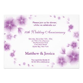 Dark Orchid Cherry Blossom Anniversary Custom Invitations
