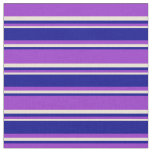 [ Thumbnail: Dark Orchid, Dark Blue, and Bisque Stripes Fabric ]