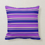[ Thumbnail: Dark Orchid, Dark Blue, and Bisque Stripes Pillow ]