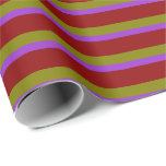 [ Thumbnail: Dark Orchid, Dark Red, and Green Colored Pattern Wrapping Paper ]