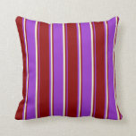 [ Thumbnail: Dark Orchid, Dark Red, and Light Yellow Lines Throw Pillow ]