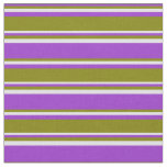 [ Thumbnail: Dark Orchid, Green, and Lavender Colored Lines Fabric ]