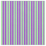 [ Thumbnail: Dark Orchid & Green Colored Lined/Striped Pattern Fabric ]
