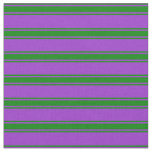 [ Thumbnail: Dark Orchid & Green Colored Striped Pattern Fabric ]