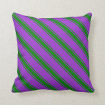 [ Thumbnail: Dark Orchid & Green Colored Striped Pattern Pillow ]