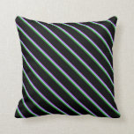 [ Thumbnail: Dark Orchid, Light Blue, Forest Green & Black Throw Pillow ]