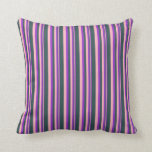 [ Thumbnail: Dark Orchid, Light Pink, and Dark Slate Gray Throw Pillow ]