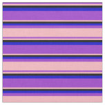[ Thumbnail: Dark Orchid, Light Pink, Black & Blue Stripes Fabric ]