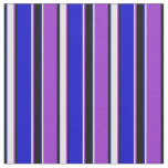 [ Thumbnail: Dark Orchid, Light Yellow, Blue, and Black Lines Fabric ]