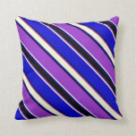 [ Thumbnail: Dark Orchid, Light Yellow, Blue, and Black Lines Throw Pillow ]