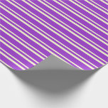 [ Thumbnail: Dark Orchid & Light Yellow Lines/Stripes Pattern Wrapping Paper ]