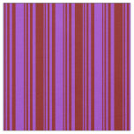 [ Thumbnail: Dark Orchid & Maroon Colored Striped Pattern Fabric ]