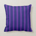 [ Thumbnail: Dark Orchid & Midnight Blue Striped/Lined Pattern Throw Pillow ]