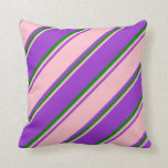 [ Thumbnail: Dark Orchid, Pink, and Green Lines Throw Pillow ]