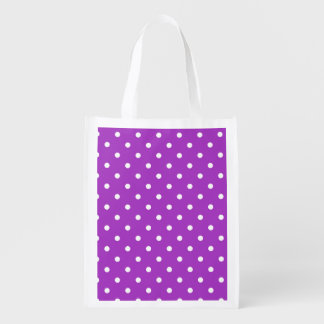 Dark Orchid Polka Dots Grocery Bag