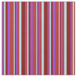 [ Thumbnail: Dark Orchid, Red, Powder Blue, and Maroon Lines Fabric ]