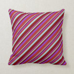[ Thumbnail: Dark Orchid, Red, Powder Blue, and Maroon Lines Throw Pillow ]