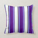 [ Thumbnail: Dark Orchid, Sky Blue, Indigo, Mint Cream & Black Throw Pillow ]
