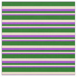[ Thumbnail: Dark Orchid, Tan, and Dark Green Lines Fabric ]