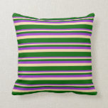 [ Thumbnail: Dark Orchid, Tan, and Dark Green Lines Pillow ]