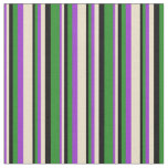 [ Thumbnail: Dark Orchid, Tan, Black & Forest Green Colored Fabric ]