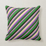 [ Thumbnail: Dark Orchid, Tan, Black & Forest Green Colored Throw Pillow ]