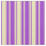[ Thumbnail: Dark Orchid & Tan Colored Lines Pattern Fabric ]