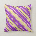 [ Thumbnail: Dark Orchid & Tan Colored Lines Pattern Pillow ]