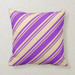 [ Thumbnail: Dark Orchid & Tan Striped Pattern Throw Pillow ]