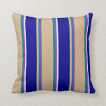 [ Thumbnail: Dark Orchid, Teal, Tan, Dark Blue & White Colored Throw Pillow ]