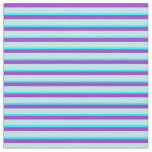 [ Thumbnail: Dark Orchid, Turquoise, and Aqua Striped Pattern Fabric ]