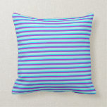 [ Thumbnail: Dark Orchid, Turquoise, and Aqua Striped Pattern Throw Pillow ]