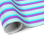 [ Thumbnail: Dark Orchid, Turquoise, and Aqua Striped Pattern Wrapping Paper ]