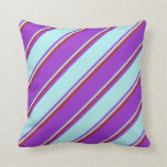 [ Thumbnail: Dark Orchid, Turquoise, and Red Colored Pattern Throw Pillow ]