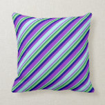 [ Thumbnail: Dark Orchid, Turquoise, Sea Green, Green & Blue Throw Pillow ]