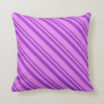 [ Thumbnail: Dark Orchid & Violet Colored Stripes Throw Pillow ]
