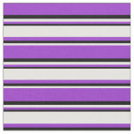 [ Thumbnail: Dark Orchid, White & Black Colored Lines Fabric ]