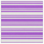 [ Thumbnail: Dark Orchid & White Colored Lined Pattern Fabric ]