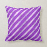 [ Thumbnail: Dark Orchid & White Colored Lines Pattern Pillow ]