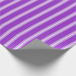 [ Thumbnail: Dark Orchid & White Colored Lines Pattern Wrapping Paper ]