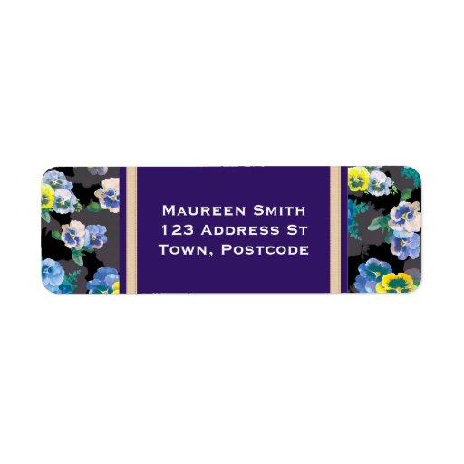 Dark pansies elegant flower print return address labels