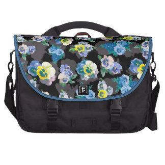 Dark pansies elegant flower print bag for laptop