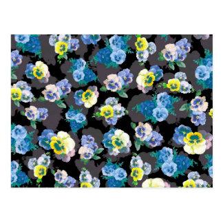 Dark pansies elegant flower print post card