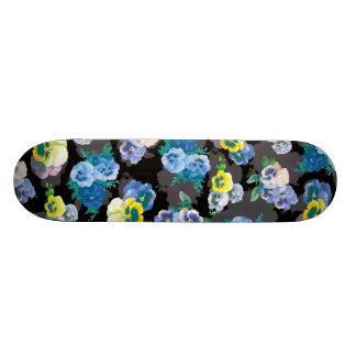 Dark pansies elegant flower print skateboard deck