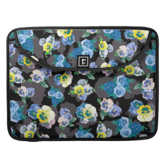 Dark pansies elegant flower print sleeve for MacBooks