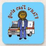 Dark Paramedic Girl Beverage Coaster